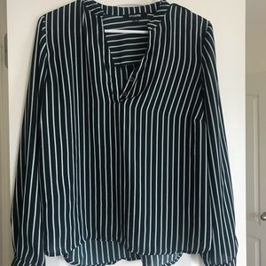 A lightweight green and white striped blouse